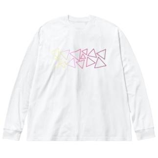 赤色のグラデーションの三角形 Big silhouette long sleeve T-shirts