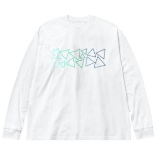 緑色のグラデーションの三角形 Big silhouette long sleeve T-shirts