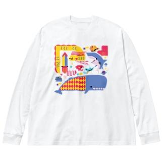 海のトワイライトな生き物 Big Silhouette Long Sleeve T-Shirt