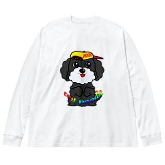 ちんちんトイプードル Big silhouette long sleeve T-shirts