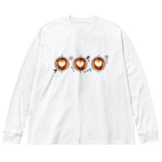 【Lady's sweet coffee】ラテアート メッセージハート / With accessories ~2杯目~ Big Silhouette Long Sleeve T-Shirt