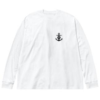 大日本帝国海軍軍記章(ワンポイント 黒) Big Silhouette Long Sleeve T-Shirt