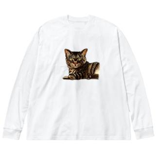 キジ柄の猫がこちらをみている Big Silhouette Long Sleeve T-Shirt