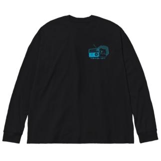 にやにやRadio 胸元プリント Big silhouette long sleeve T-shirts