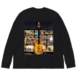 Guitar & Alcohol Big silhouette long sleeve T-shirts