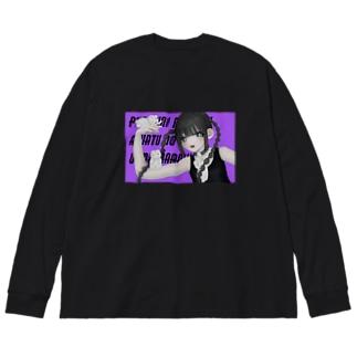 スク水くん Big silhouette long sleeve T-shirts