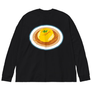 天津飯 Big silhouette long sleeve T-shirts