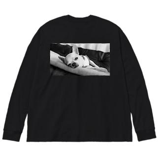 akane_artのモノクロチワワ(アンニュイ2) Big silhouette long sleeve T-shirts