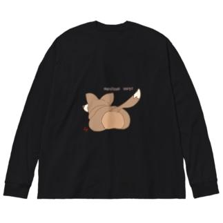 尻尾付きコーギーT(イラストの位置違うver) Big silhouette long sleeve T-shirts