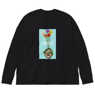 頭からガーベラで阿波おどり Big silhouette long sleeve T-shirts