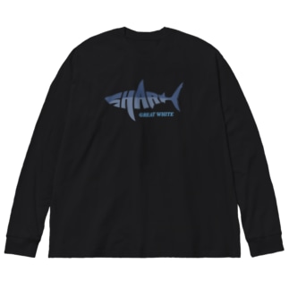 SHARK -Letter Logo Style- Big Silhouette Long Sleeve T-Shirt