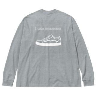 スニーカー好き Big silhouette long sleeve T-shirts