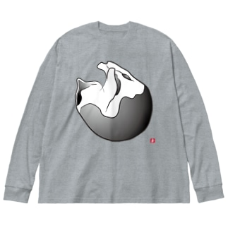 白黒猫:まんまる Big silhouette long sleeve T-shirts