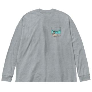殿と梅雨/猫 Big silhouette long sleeve T-shirts