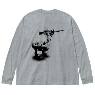 cassowary(ロゴなしモノクロロボットのみ) Big silhouette long sleeve T-shirts