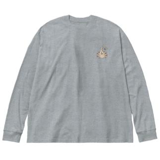 猫尻 Big silhouette long sleeve T-shirts