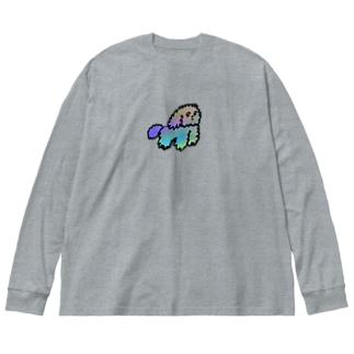 モジャ犬 Big silhouette long sleeve T-shirts