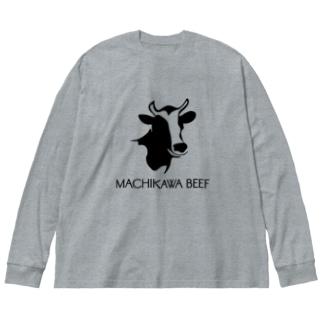 MACHIKAWA BEEF(黒) Big silhouette long sleeve T-shirts