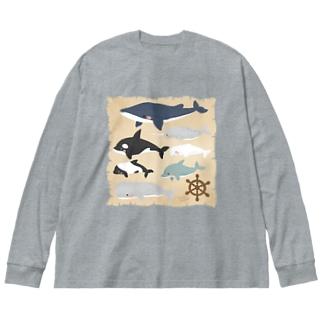 クジライルカ図鑑 Big silhouette long sleeve T-shirts