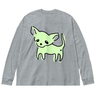 ゆるチワワ(グリーン) Big silhouette long sleeve T-shirts