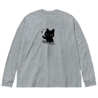 ジャーンねこ Big silhouette long sleeve T-shirts