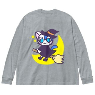 魔女っこユルリちゃん Big silhouette long sleeve T-shirts