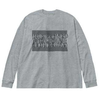 束波 / たばなみ (黒) Big silhouette long sleeve T-shirts
