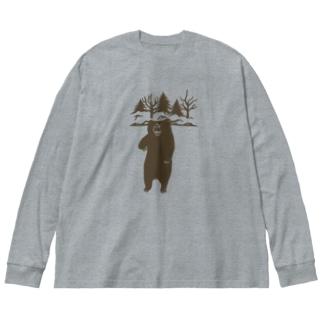 ヒグマ (茶色) Big silhouette long sleeve T-shirts