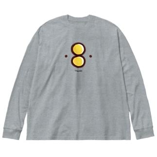 ( ・8・ )マーク(カラー) Big silhouette long sleeve T-shirts