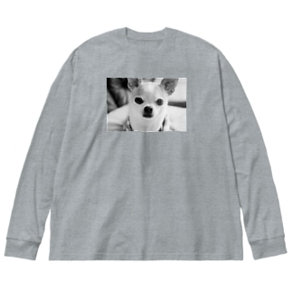 モノクロチワワ(おすまし) Big silhouette long sleeve T-shirts