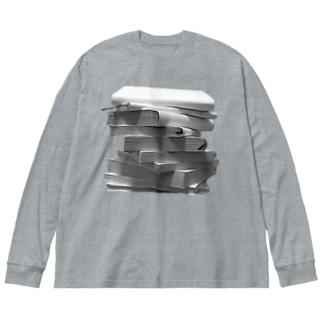 積んだ本 Big silhouette long sleeve T-shirts