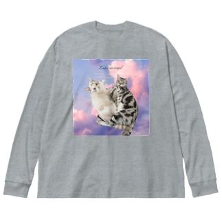 New!!猫は天使 Big Silhouette Long Sleeve T-Shirt
