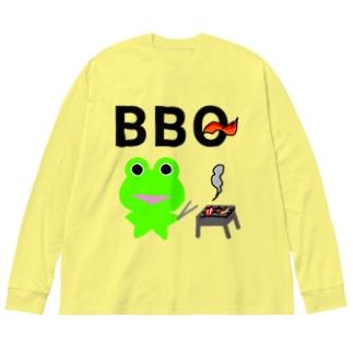 BBQを楽しむカエルくん Big silhouette long sleeve T-shirts