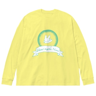 ねむねむうさぎ Big silhouette long sleeve T-shirts