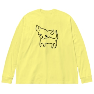 akane_artのゆるチワワ(クリア) Big silhouette long sleeve T-shirts