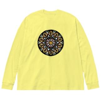 オレンジシャーベット-丸ver. Big silhouette long sleeve T-shirts