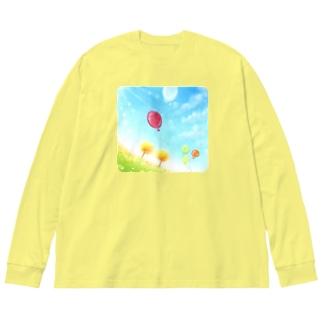 大空へ−Autumn Big silhouette long sleeve T-shirts