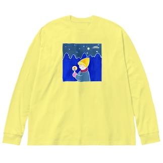 キャンドルとぼく Big silhouette long sleeve T-shirts