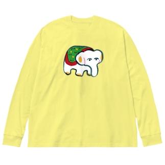 gangu(ぞうさん) Big silhouette long sleeve T-shirts