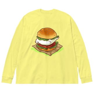 アザラシバーガー Big silhouette long sleeve T-shirts