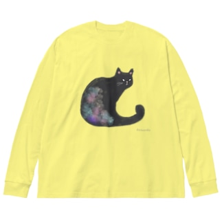 クロネコ 水彩 Big silhouette long sleeve T-shirts