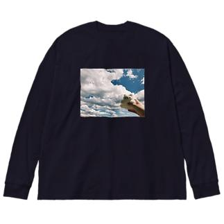 [ぬいぐるみ倶楽部] しろくま Big silhouette long sleeve T-shirts