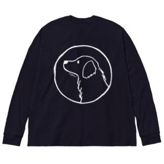 ゴールデン・レトリーバー〈白線・円〉 Big silhouette long sleeve T-shirts