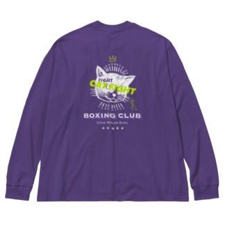 CAT FIGHT Big silhouette long sleeve T-shirts