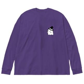 ハロウィンおばけちゃん Big silhouette long sleeve T-shirts
