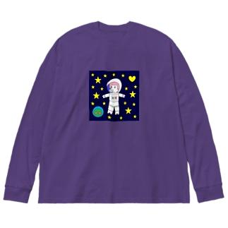 宇宙遊泳するBURARA Big silhouette long sleeve T-shirts