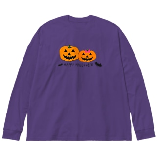 ハロウィンかぼちゃンズ Big silhouette long sleeve T-shirts