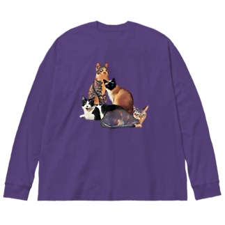 Motto-Free-Cats! Big silhouette long sleeve T-shirts