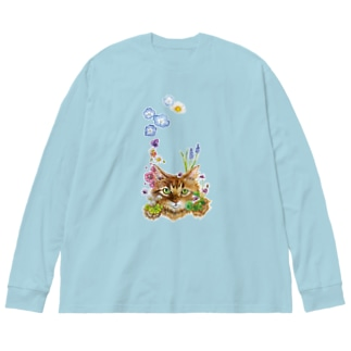 花咲かCAT Big silhouette long sleeve T-shirts