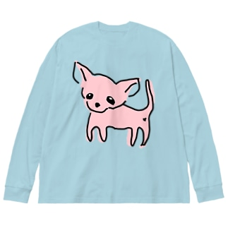 ゆるチワワ(ピンク) Big silhouette long sleeve T-shirts